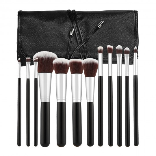 MIMO by Tools For Beauty 12 Teilig Makeup Pinsel Set, Schwarz