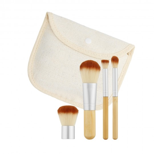 MIMO by Tools For Beauty 4 Teilig Klein Makeup Pinsel Set, Reiseset