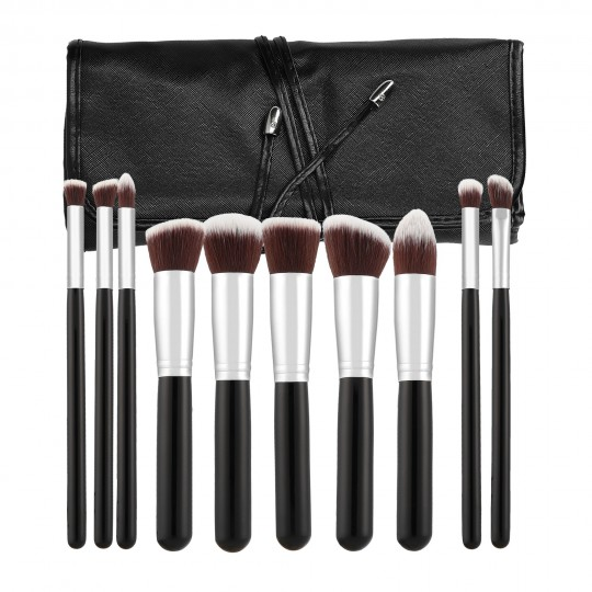MIMO by Tools For Beauty 10 Teilig Makeup Pinseln Set, Schwarz