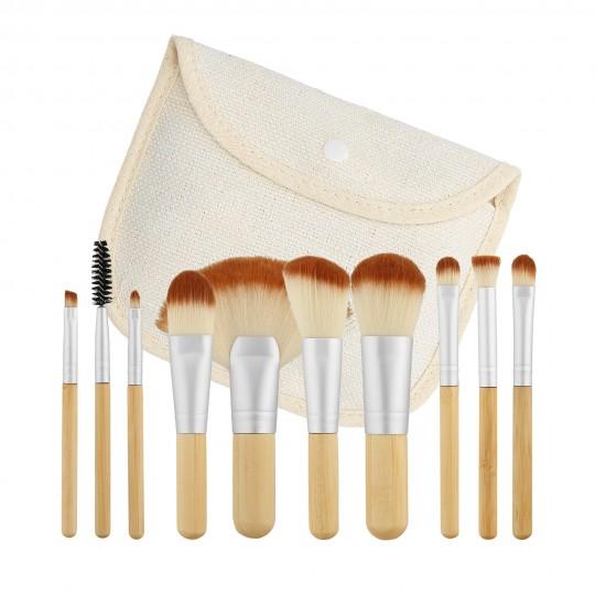 MIMO 10 Teilig Makeup Pinseln Lein Reiseset - 1