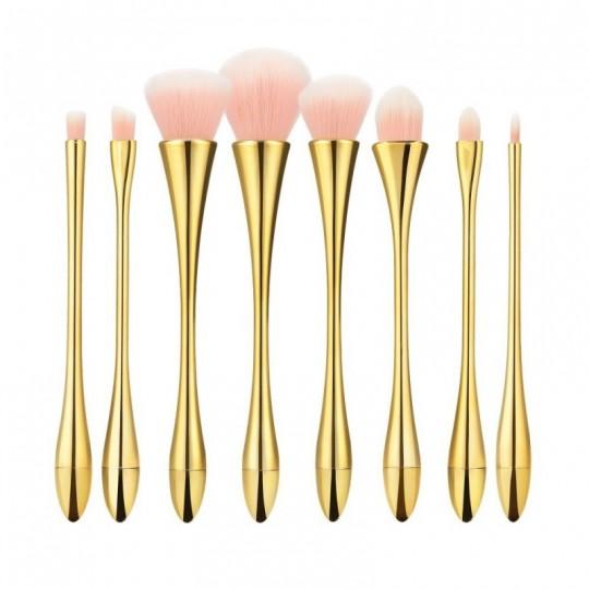 Set 8 Pinseln rosa Borsten, Goldgriff und Zwinge - 1
