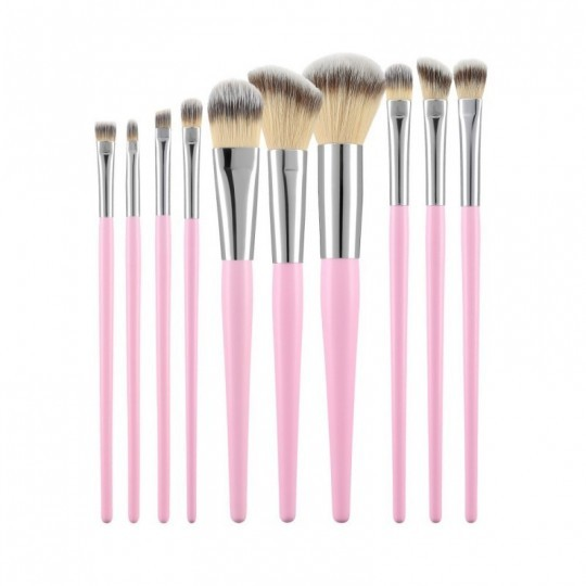 MIMO by Tools For Beauty 10 Teilig Makeup Pinseln Set, Rosa