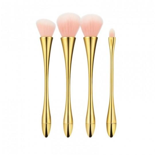 Set mit 4 Pinsel mit rosa Borsten, Goldgriff und Zwinge - 1