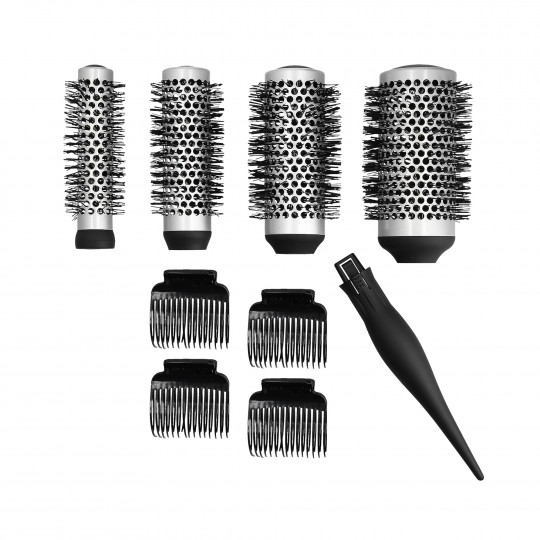 LUSSONI by Tools For Beauty, 4 Teilig Stylingbürsten Set Mit Austauschbarem Griff + 4 Clips