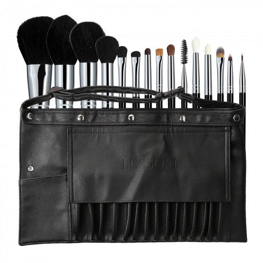 Lussoni Master Kit Professional Makeup Pinsel Set mit Gürtel 16 Stk.