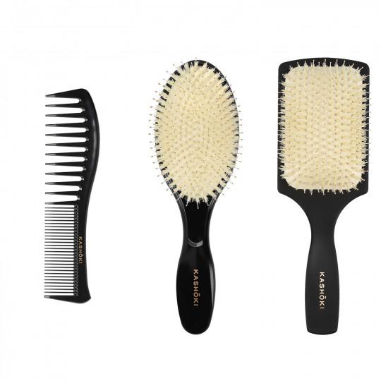 Kashōki Hasu Hair Styling Set: 1 x Entwirrbürste, 1 x Rundbürste, 1 x Kamm