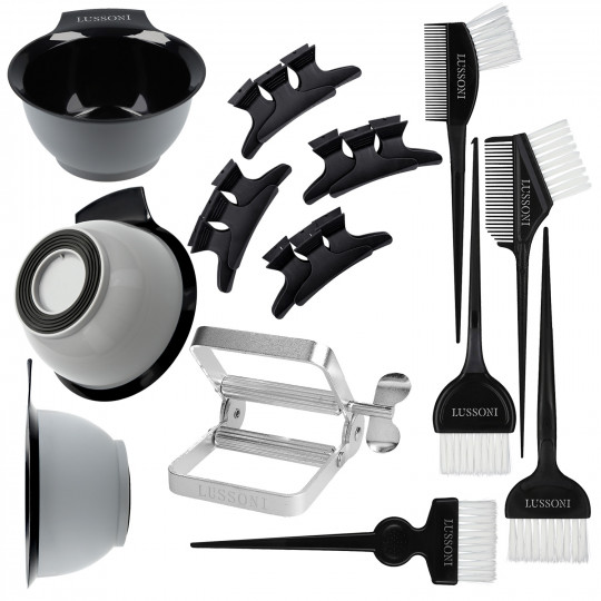 LUSSONI by Tools For Beauty, 10 Teilig Haarfärbe Kit: Haarfärbeschale, Haarfärbepinsel, Haarteiler, Tubenpresse