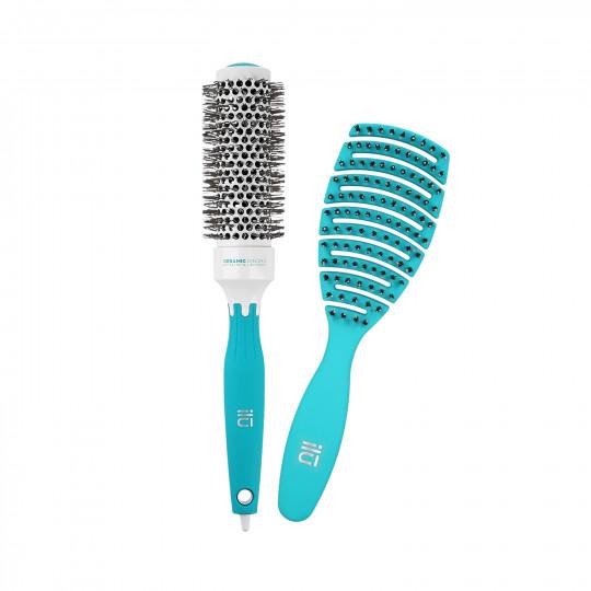 ilū by Tools For Beauty, Türkise 2 Teilig Haarbürsten Set, Entwirr Bürste Und Styling Haarbürste Rund Ø 33 mm