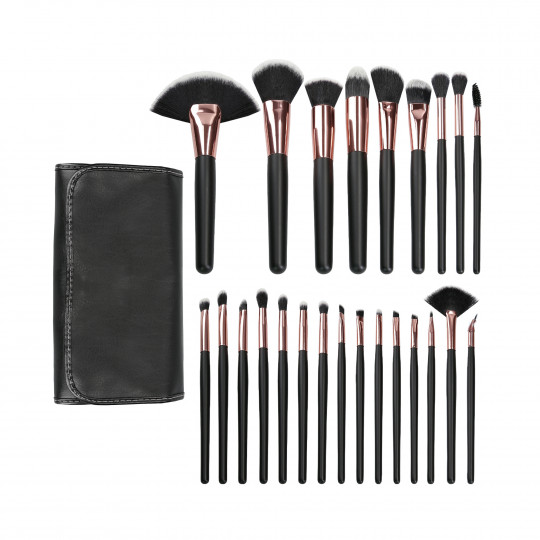 MIMO by Tools For Beauty, 24 Stück Make-up Pinsel Set, Schwarz